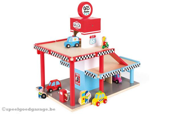 Houten Garage Janod : Janod pompstation speelgoedgarage.be
