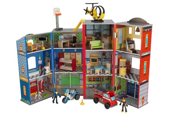 Houten Garage Janod : Janod brandweerkazerne speelgoedgarage be